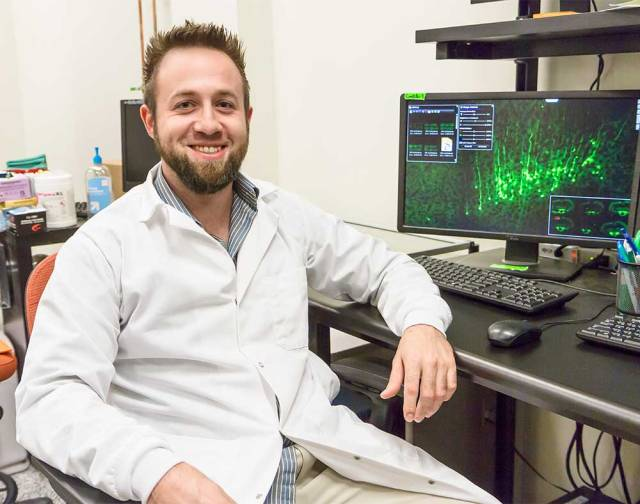 Dr. Patrick Ganzer, research fellow in the Texas Biomedical Device Center at UT Dallas, won a best paper award from the International Spinal Cord Repair group for his work that uses vagus nerve stimulation as a possible therapy for patients.